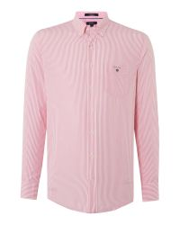GANT | Pink Banker Stripe Classic Fit Shirt for Men | Lyst