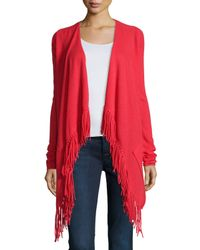 Neiman Marcus | Red Draped Cashmere Cardigan W/ Fringe | Lyst
