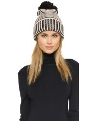Kate Spade | Black Plaited Rib Cuff Hat With Pom Pom - Pumice | Lyst