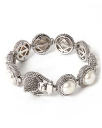 Eddie Borgo | Metallic Silver-plated Pave Pearl Dome Bracelet | Lyst