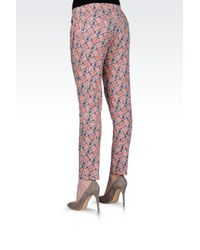 Armani Jeans - Pink Cropped Pants in Printed Viscose - Lyst