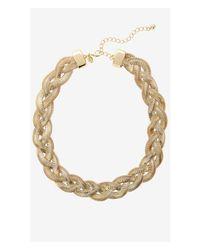 Express - Metallic Braided Herringbone Chain Necklace - Lyst