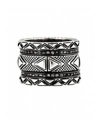 House of Harlow 1960 - Metallic Mesa Stack Rings Silver - Lyst
