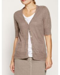 Sandwich | Brown Crinkled Cotton Cardigan | Lyst