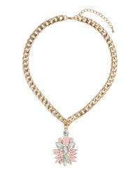 Mikey | Pink Enamel Flower With Crystals Necklace | Lyst
