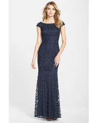 Tadashi Shoji | Blue Textured Lace Mermaid Gown | Lyst