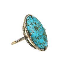 Sylva & Cie - Blue Kingman Turquoise Diamond Ring - Lyst