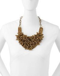 Deepa Gurnani | Metallic Brass Flower Bib Necklace | Lyst