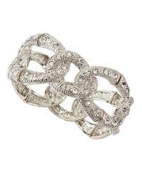 R.j. Graziano | Metallic Silvertone Pave Link Stretch Bracelet | Lyst