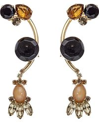 Marni - Multicolor Strass And Gold-plated Brass Earrings, Women's, Cigar - Lyst