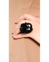 Oscar de la Renta - Black Goldplated Resin Rose Ring - Lyst