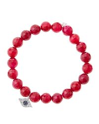 Sydney Evan | Pink 8Mm Faceted Red Agate Beaded Bracelet With 14K White Gold/Diamond Small Evil Eye Charm (Made To Order) | Lyst