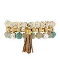 Panacea - White Triple-row Howlite Stretch Bracelet - Lyst