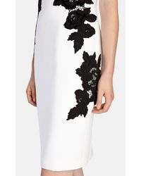 Karen Millen - Black Velvet Floral Appliqu㉠Dress - Lyst