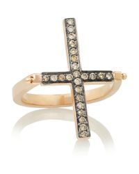 Ileana Makri - Metallic Turning Cross 18karat Rose Gold Diamond Ring - Lyst