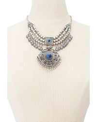 Forever 21 | Blue Medallion Bib Necklace | Lyst