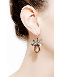 Marni - Brown Crystal and Horn Drop Earrings - Lyst