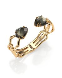 Alexis Bittar | Metallic Miss Havisham Kinetic Pyrite Double-Stone Bracelet | Lyst