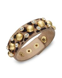 Juicy Couture - Metallic Goldtone Stud and Crystal Accent Leopard Leather Bracelet - Lyst
