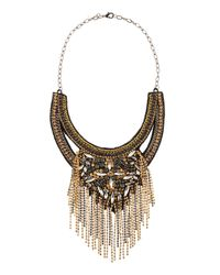 Deepa Gurnani - Metallic Art Deco Bib Necklace Goldblack - Lyst