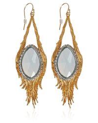 Alexis Bittar - Metallic Goldtone Feather Aquamarine Tear Drop Earrings - Lyst
