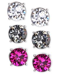 Nine West | Multicolor Silver-Tone Colorful Trio Stud Earring Set | Lyst
