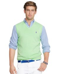 Polo Ralph Lauren | Green Pima V-neck Vest for Men | Lyst