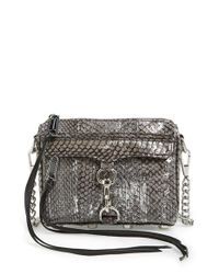 Rebecca Minkoff | Metallic Silver Blackwash Leather Boyfriend Crossbody Bag | Lyst