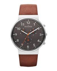 Skagen - Metallic 'ancher' Round Chronograph Leather Strap Watch - Lyst