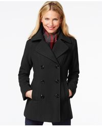 London Fog - Gray Double-breasted Peacoat With Plaid Scarf - Lyst