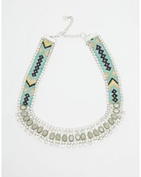 Pieces - Blue Natalia Plaited Collar Necklace - Lyst