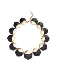 Rachel Zoe   Metallic 'alana' Leather Collar Necklace   Lyst