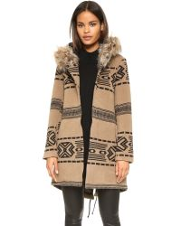 BB Dakota | Brown Brenden Jacquard Coat W/fur Trim Hood - Oatmeal | Lyst