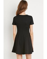 Forever 21 | Black Textured Fit & Flare Dress | Lyst