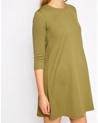 ASOS - Natural Swing Dress In Texture With 3/4 Sleeve - Lyst