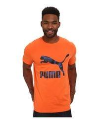 PUMA - Orange Archive Logo Tee for Men - Lyst