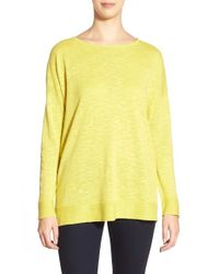Eileen Fisher | Yellow Organic Linen & Organic Cotton Ballet Neck Boxy Top | Lyst