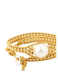 Colana | Metallic Leather Wrap Bracelet With Pearl | Lyst