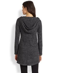 Eileen Fisher - Gray Stretch Hooded Knit Jacket - Lyst