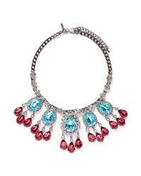 Kenneth Jay Lane | Blue Crystal Teardrop Station Necklace | Lyst