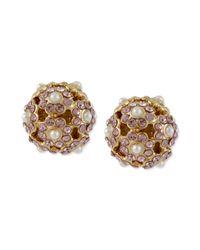 Betsey Johnson | Pink Antique Goldtone Flower Orbital Stud Earrings | Lyst