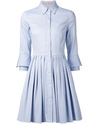 Michael Kors | Blue Pleated Shirt Dress | Lyst