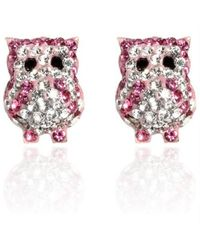 Aeravida | Red Jovial Bright Pink-white Owl Cubic Zirconia .925 Silver Stud Earrings | Lyst