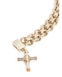 Givenchy Metallic Cross Charm Curb Chain Bracelet