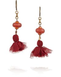 Isabel Marant - Red Goldtone Agate and Tassel Earrings - Lyst