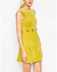 ASOS | Yellow A-line Dress In Suede With Square Eyelet Detail | Lyst
