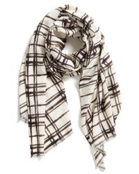 Halogen - Gray Blurred Plaid Wrap - Lyst