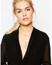 Pieces | Metallic Ronja Multirow Tassel Necklace | Lyst