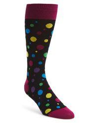 Bugatchi - Black Multi Dot Cotton Blend Socks for Men - Lyst