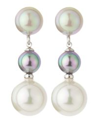 Majorica | White 3-pearl Linear Drop Earrings | Lyst